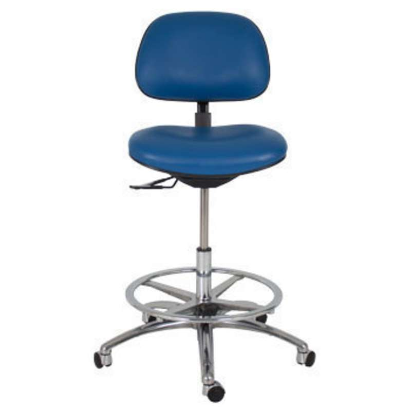 "3000 Series ESD-Safe Adjustable 22"" to 29-1/2"" Black Vinyl Chair with Aluminum Base, Footring, and Casters"