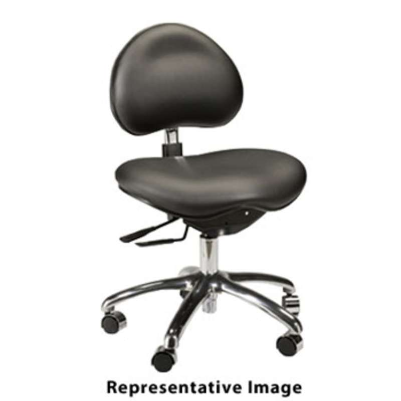 "Adjustable 16-1/2 to 21"" Medical / Laboratory Vinyl Chair with Aluminum Base and Saddle Seat, Burgundy"