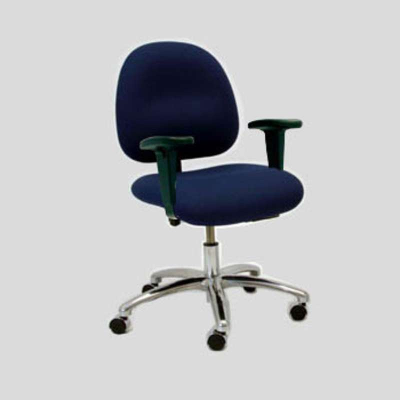 "3000 Series ESD-Safe Adjustable 17 - 21-1/2"" Fabric Desk Chair with Arm Rests and Braking Casters"