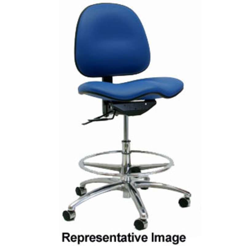 "7000 Series ESD-Safe Adjustable 22 - 29-1/2"" Blue Vinyl Cleanroom Chair with Footring and Aluminum Base"