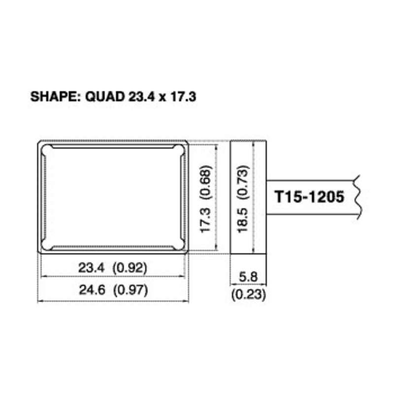 T15 Series Quad Solder Tip for FM-203/204/205/206 Iron, 23.40mm x 17.30mm
