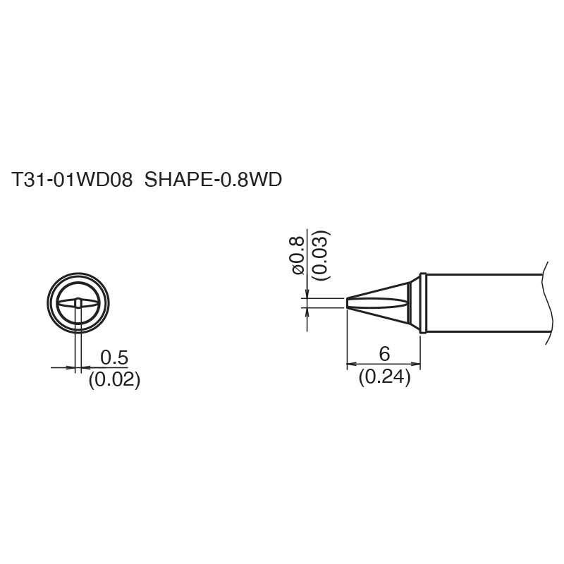 T31 Series Chisel Solder Tip for FX-100 Soldering Station, 6mm