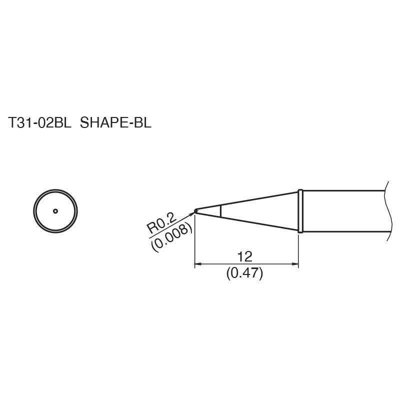 T31 Series Conical Solder Tip for FX-100 Soldering Station, 12.0mm