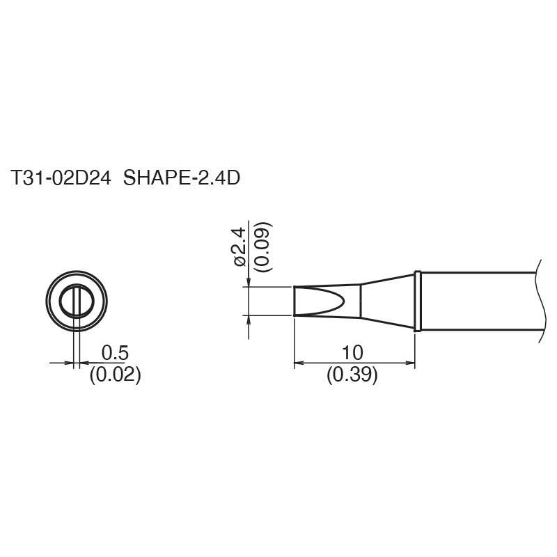 T31 Series Chisel Solder Tip for FX-100 Soldering Station, 10mm