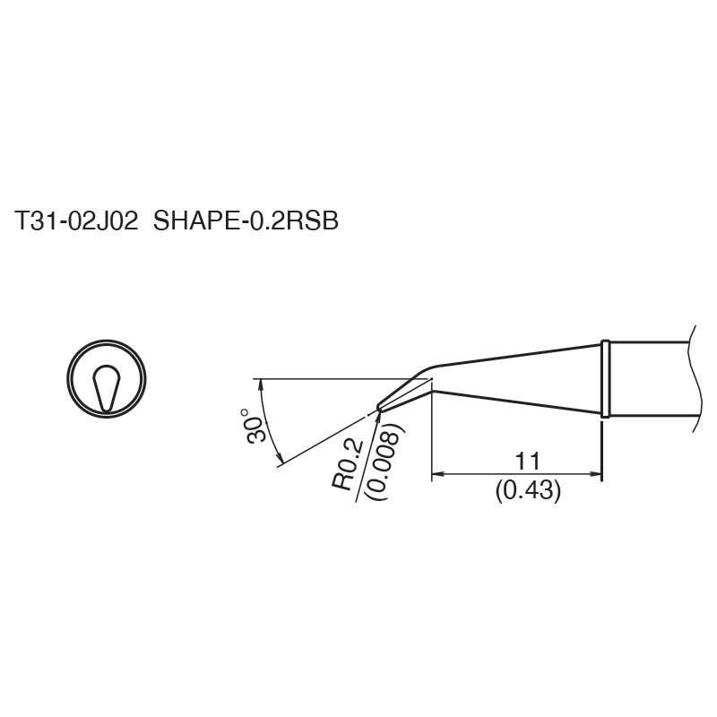 T31 Series 30° Bent Solder Tip for FX-100 Soldering Station, 11mm