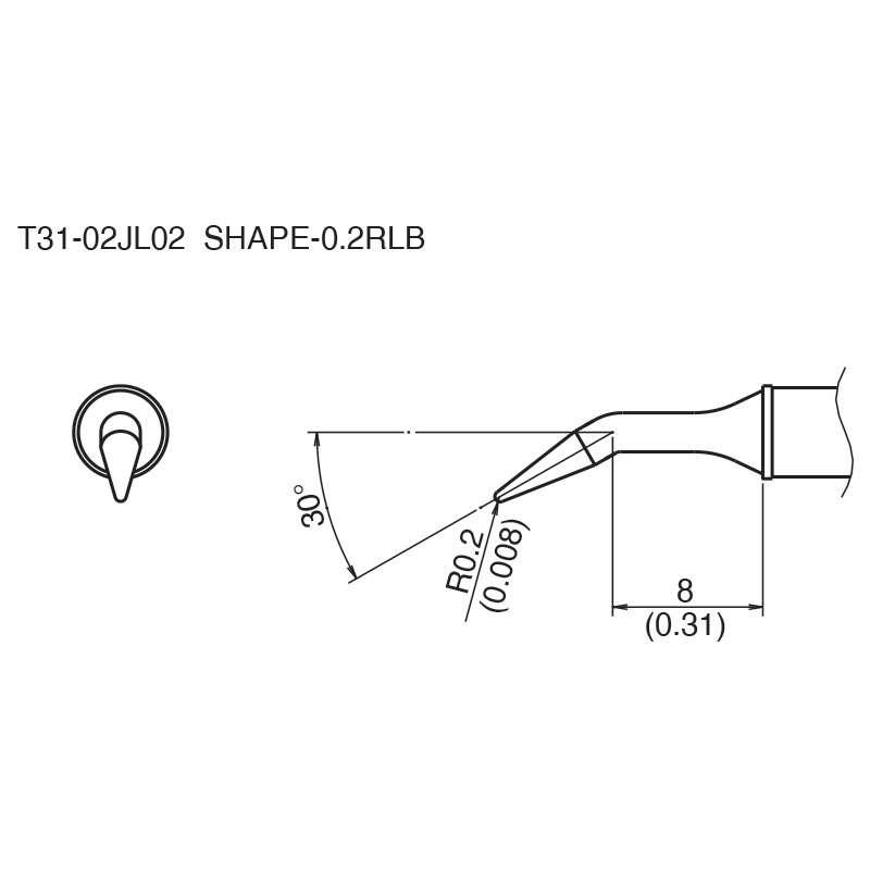 T31 Series 30° Bent Solder Tip for FX-100 Soldering Station, 8mm