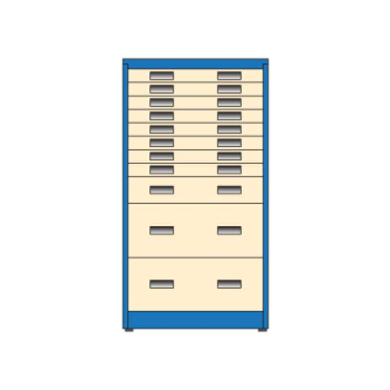 "Workmaster® All-Drawer Narrow Storage Cabinet with (8) 3"", (1) 6"" and (2) 12"" Drawers, 26D x 30W x 56""H, Must Specify Color Choice"