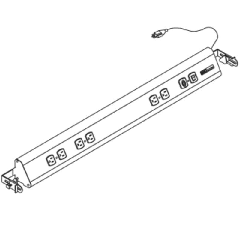 Dim4 Quick Ship Electrical Channel with 8' Cord, 3 Duplex Outlets, On/Off Switch, and Circuit Breaker, 60""