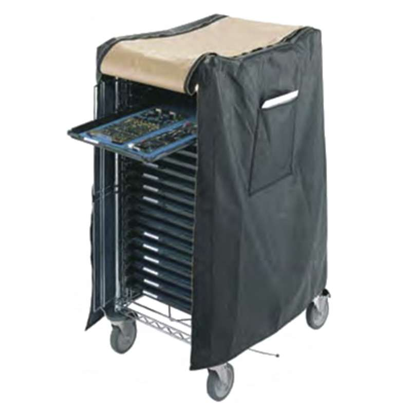 "ESD-Safe Vinyl Cart Cover with Brass Zippered Front Flap and Side Paperwork Pouch, 30"" x 23"" x 41"""