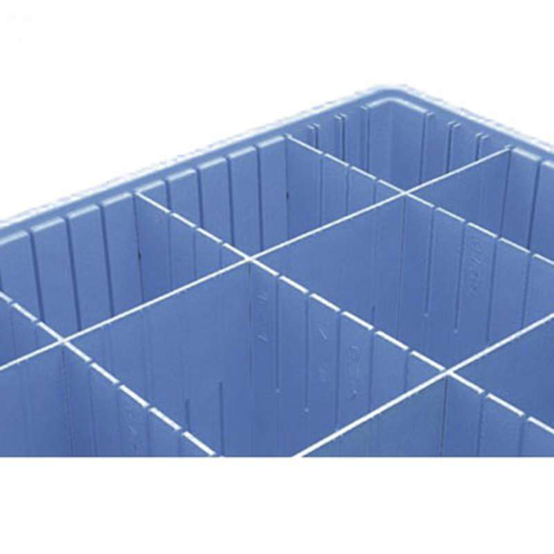 Dissipative Long Divider for TB93080BAS Tote Boxes, Blue, 20-7/8 x 7-1/2""