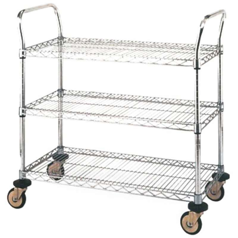 Standard Utility Cart with 3 Stainless Steel Wire Shelves and ...