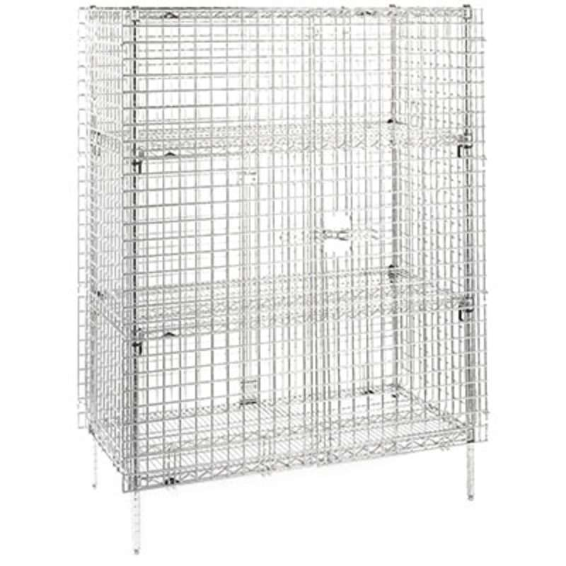 "Super Erecta Stationary Security Cabinet 27.25 x 50.5 x 67"", Chrome Wire"