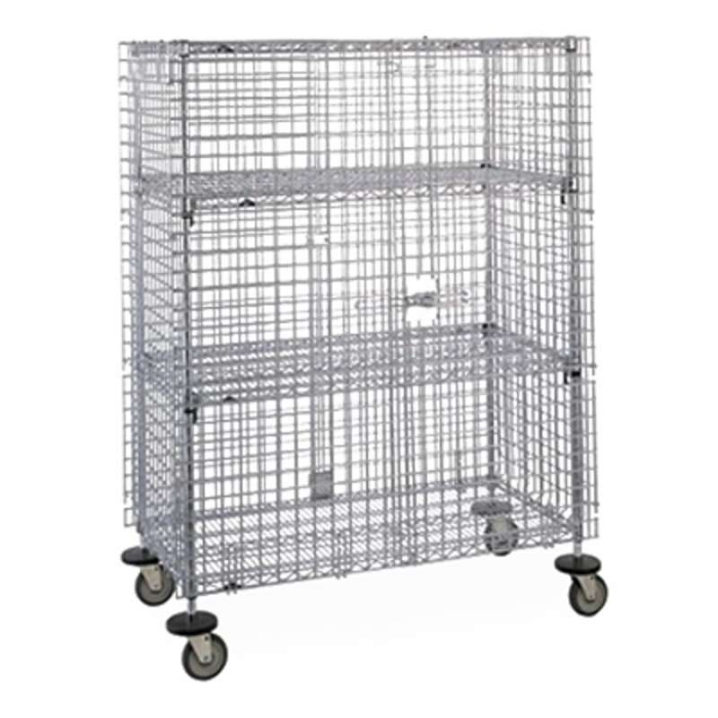"Super Erecta Mobile Security Cabinet 27.25 x 65 x 68.5"", Chrome Wire"
