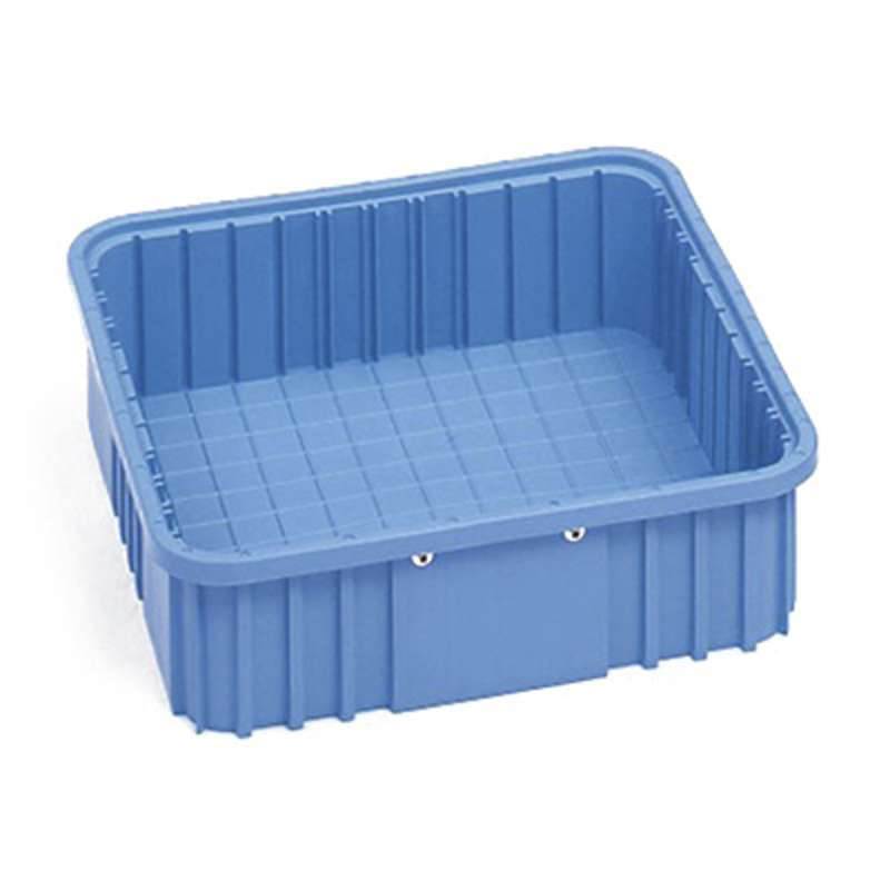 "Dissipative Stackable Divider Tote Box, Blue, 20-1/8 x 15-1/8 x 2-1/2"" ID (Dividers not Included)"