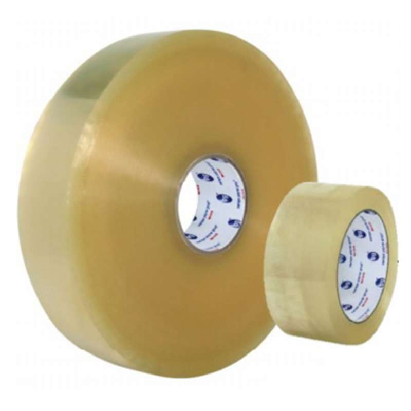 9100 Series Hot Melt Carton Sealing Tape, 72 mm x 55 m x 2.5 mil, Clear, Tan