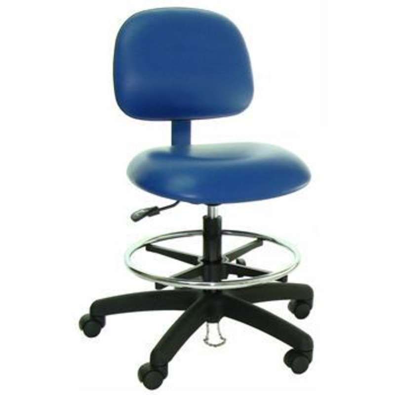 """Series 50 ESD-Safe Cleanroom Class 100 Adjustable 19 to 27"""" Vinyl Chair with Nylon Base and Casters"""