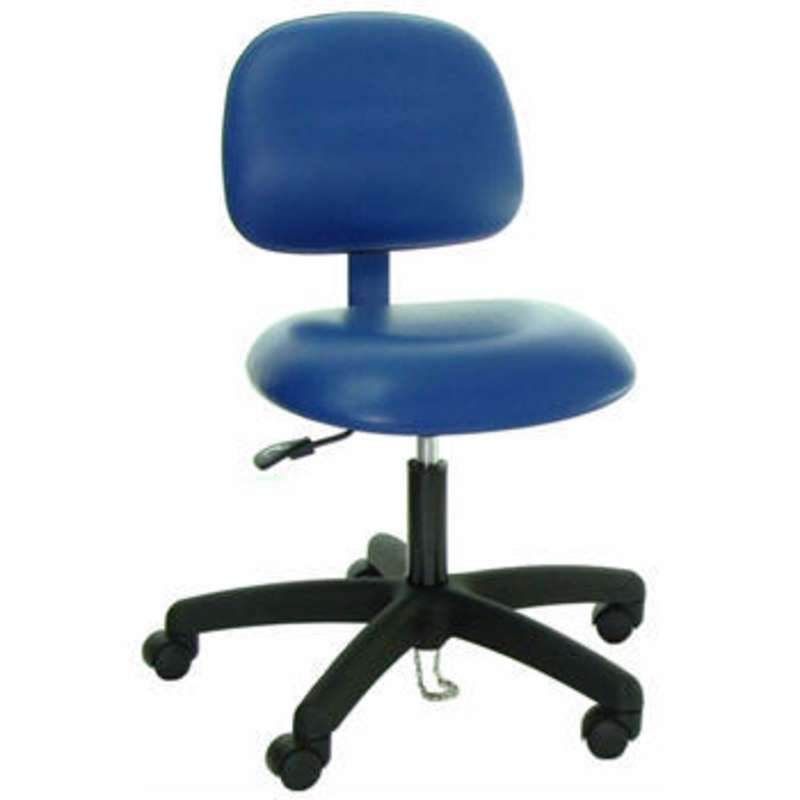 Series 52 ESD-Safe Cleanroom Adjustable Height Vinyl Chair with Nylon Base and Casters, 17-1/2 to 22-1/2