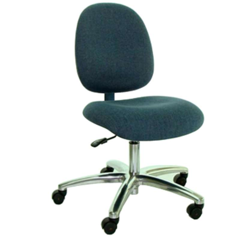 "ESD-Safe Medium-Seat Adjustable 17-22"" Fabric Chair with Aluminum Base and Casters"