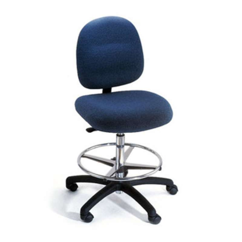 Series 20M ESD-Safe Cleanroom Adjustable Height Vinyl Heavy Duty Chair with Footring, Drag Chain, and Standard Casters, 21 to 31
