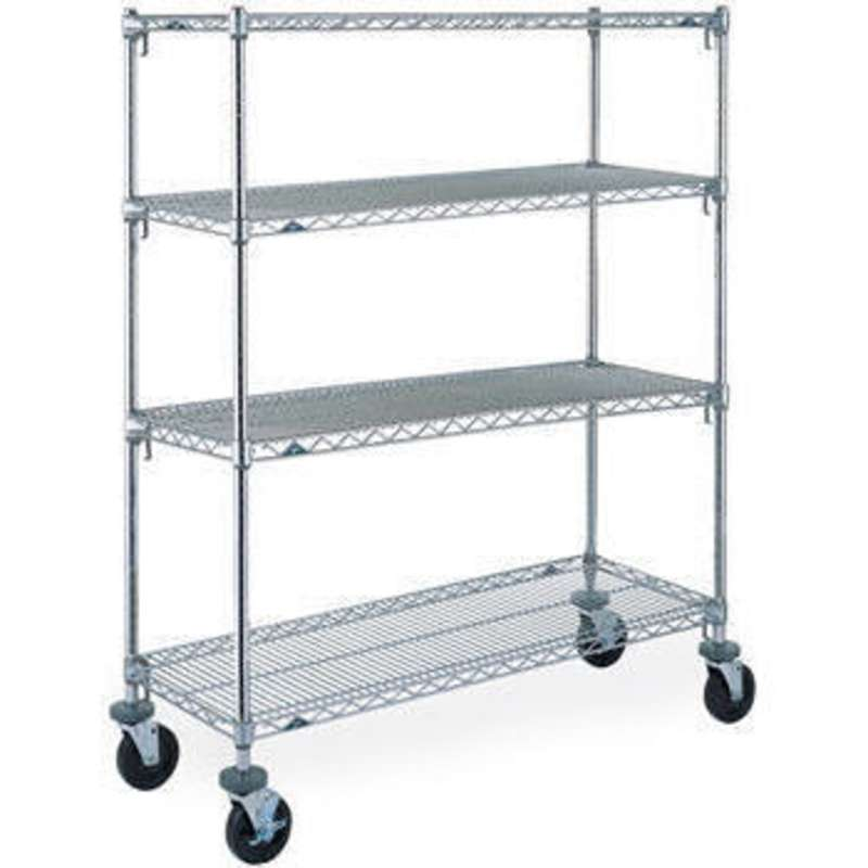 Super Adjustable 2 Wire Shelving Unit, 4-Shelves, Chrome, 18 x 60 x 63""