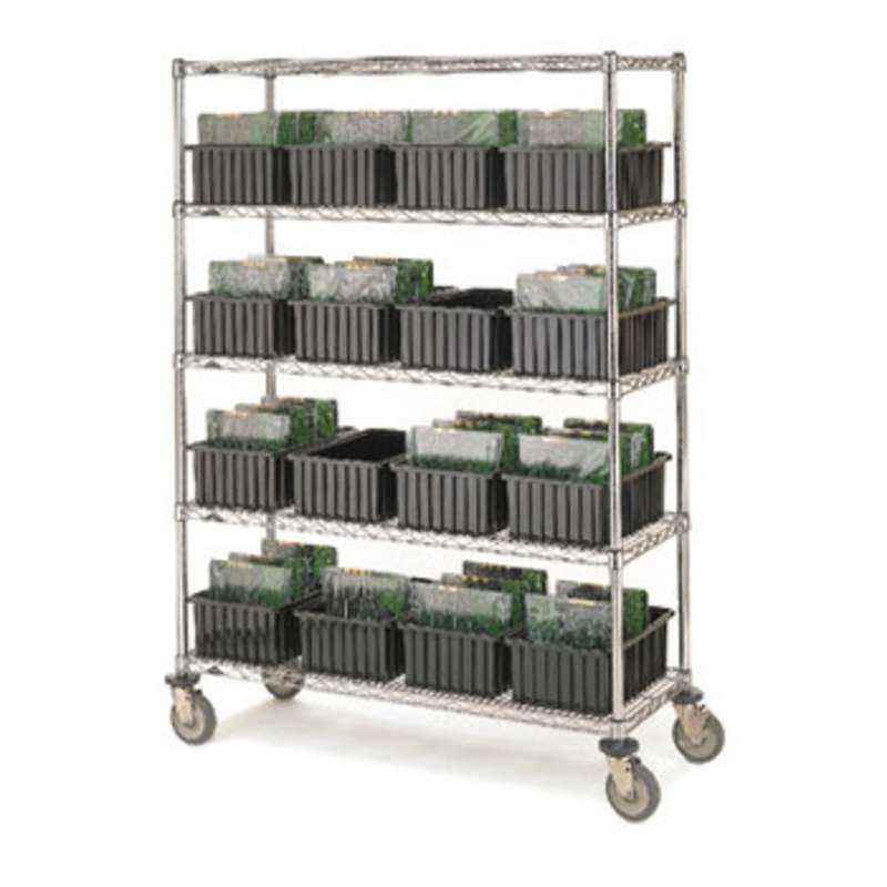 super erecta stem caster cart with 4 brite wire shelves and casters rh hisco com steel shelves with casters steel shelves with casters