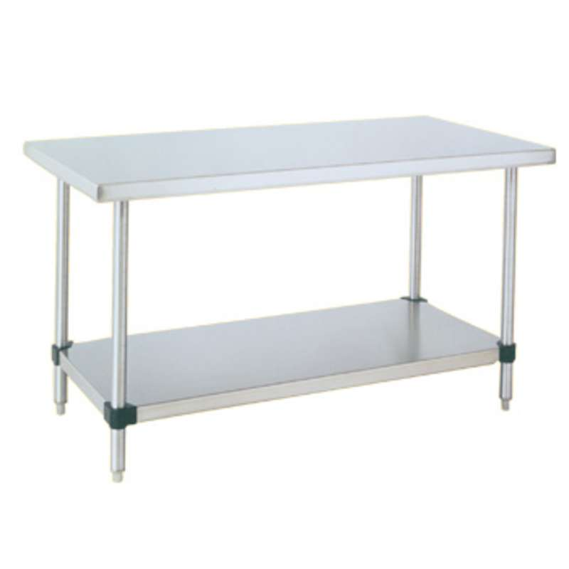 "Stainless Steel Two Shelf Stationary Work Table, 30""D x 60""W x 34""H"