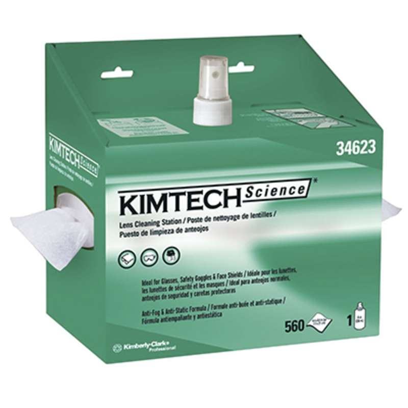 Kimtech Anti-Static Lens Cleaning Station with 560 White Precision Wipers and 8 oz Bottle of Lens Cleaning Solution