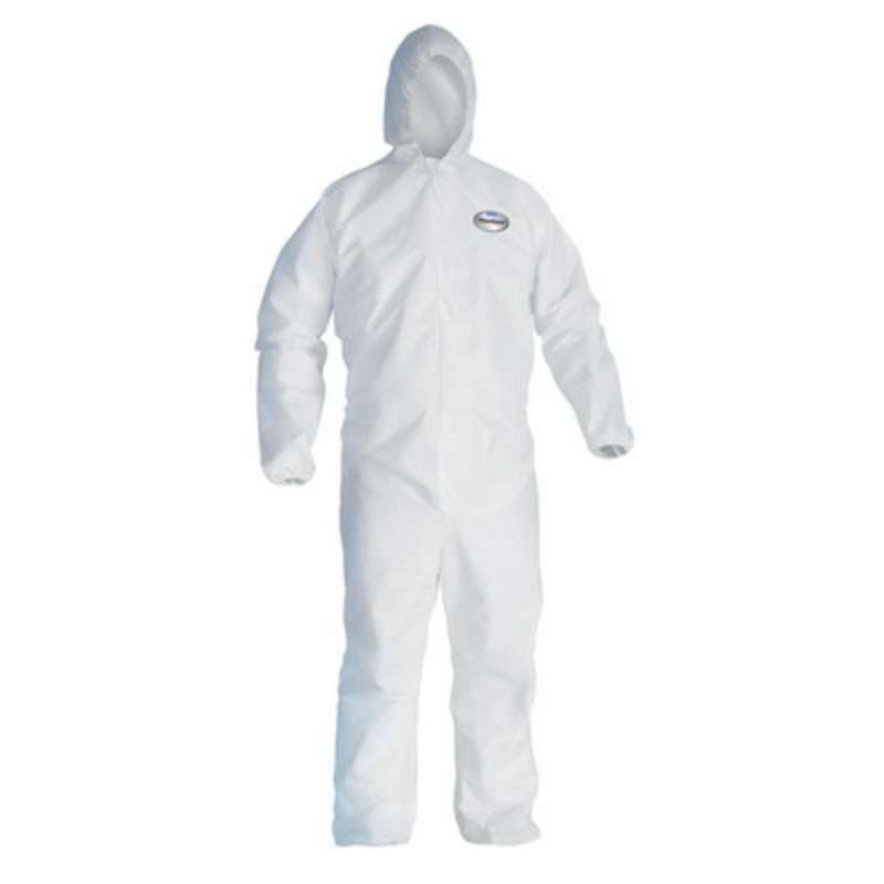 KleenGuard A40 Liquid & Particle Protection  Coveralls, Hooded & Booted, Zip Front, Elastic Wrists & Ankles, White, 3XL, 25 per Case