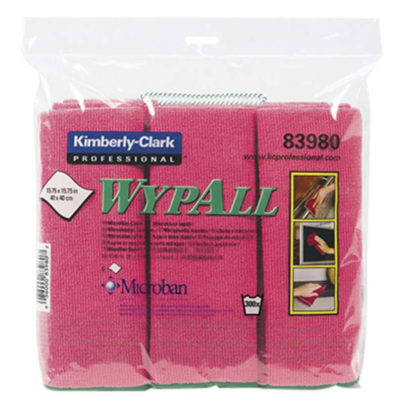 "WypAll Microfiber Launderable Cloths with Microban Protection, 15-3/4 x 15-3/4"", Red, 6 per Package, 24 per Case"