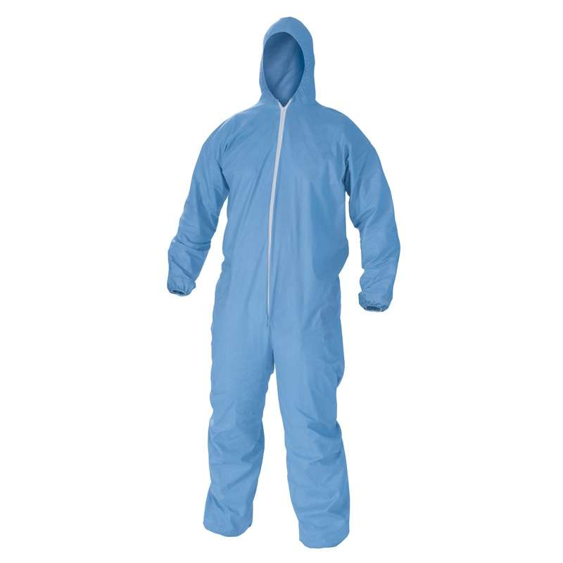 A60 Bloodborne Pathogen and Chemical Protection Coveralls with Zipper Front and Storm Flap, Elastic Cuffs, Blue, Large, 24 per Case