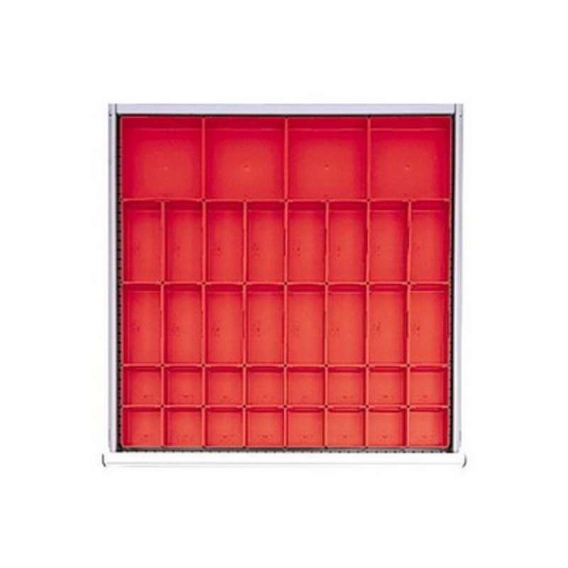 Lista™ SC Drawer Layout, 24 in x 24 in x 2 in, Red, 36 Plastic Box