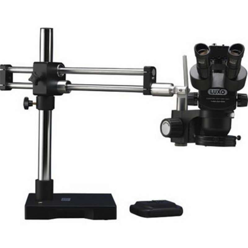 System 273 ESD-Safe Binocular Stereo-Zoom Microscope with Dual Ball Bearing Boom Stand and LED Ring Light