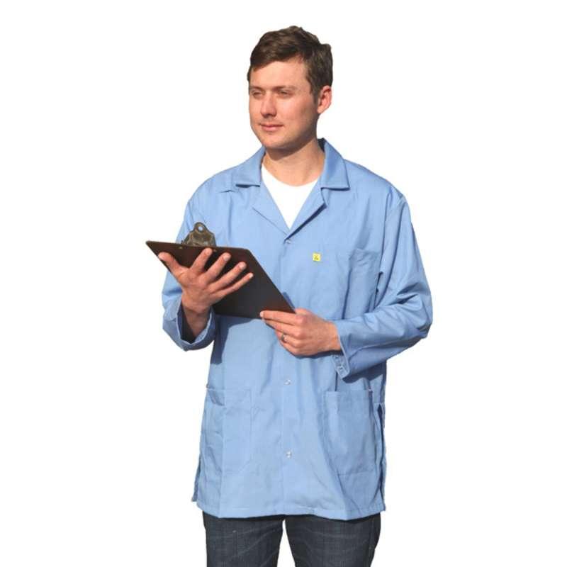 "ESD-Safe Medium Weight Jacket, Light Blue, Small, 31-1/2"" Long"
