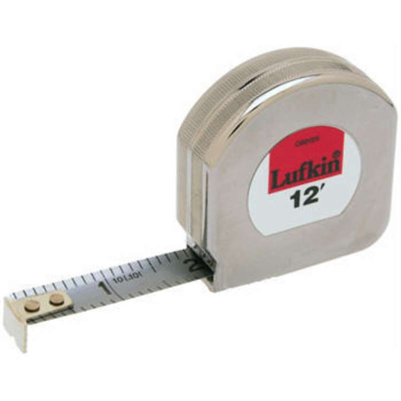 "Mezurall® Chrome Clad® Measuring Tape, Reads in Inches w/ 1/10 Inch Scale, 1/2"" x 12'"
