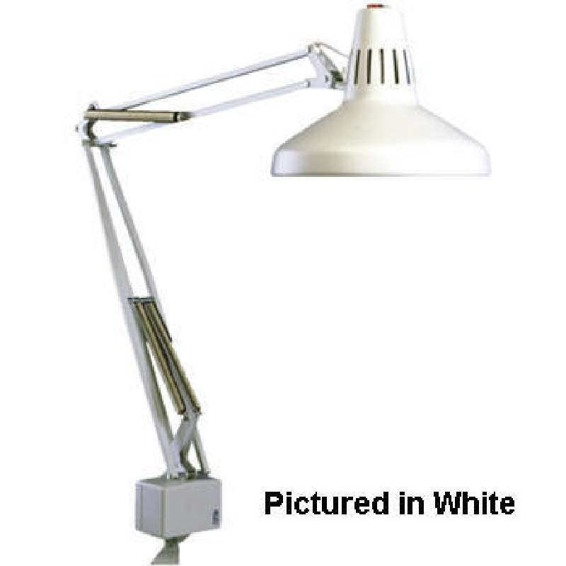 """LC Series Incandescent / Fluorescent Combination Task Light with 45"""" Reach and Edge Clamp, Black"""