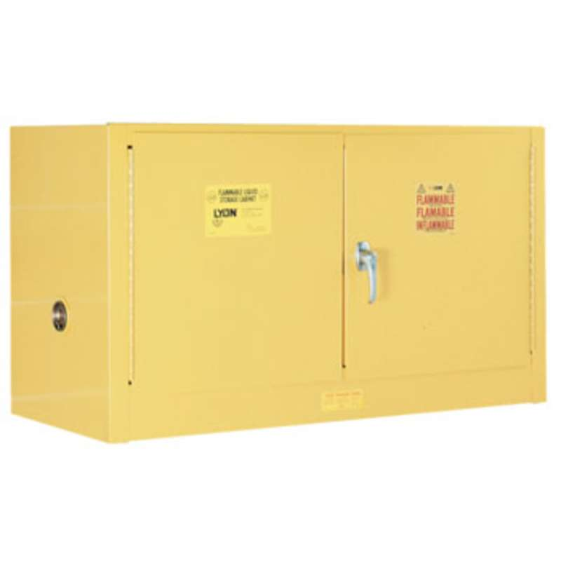 "Flammable Liquid Compact Safety Storage Cabinet with One Shelf and Wall Brackets, 18""D x 43""W x 24""H"