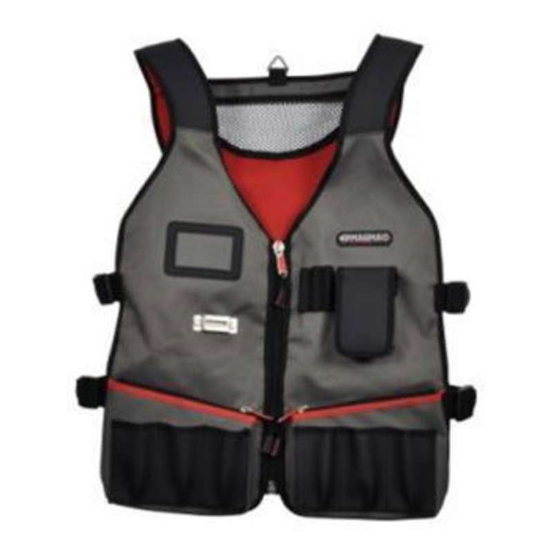 Fully Adjustable Technician's Tool Vest with Reflective Strip for Visibility on Site, Black/Red