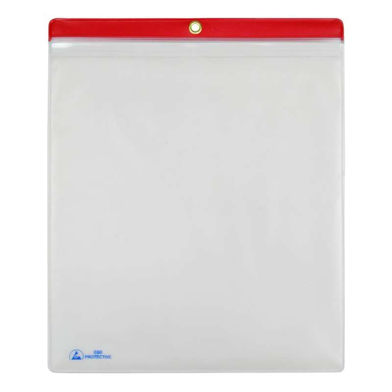 "ESD-Safe Clear Shop Traveler with Red Header and Zip Top, 10 x 12"", 10 per Pack"
