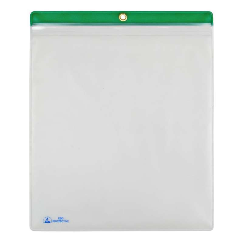 "ESD-Safe Clear Shop Traveler with Green Header, 10 x 12"", 10 per Pack"