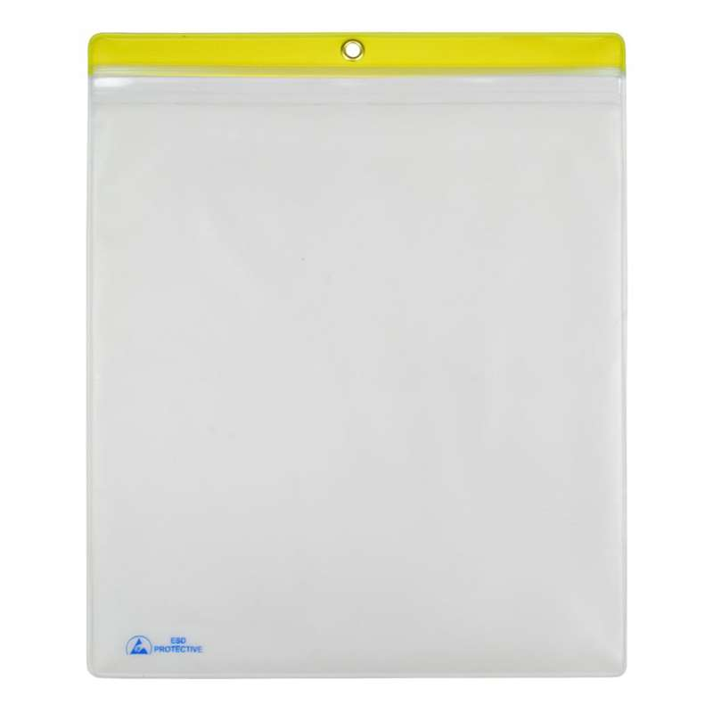 "ESD-Safe Clear Shop Traveler with Yellow Header, 10 x 12"", 10 per Pack"