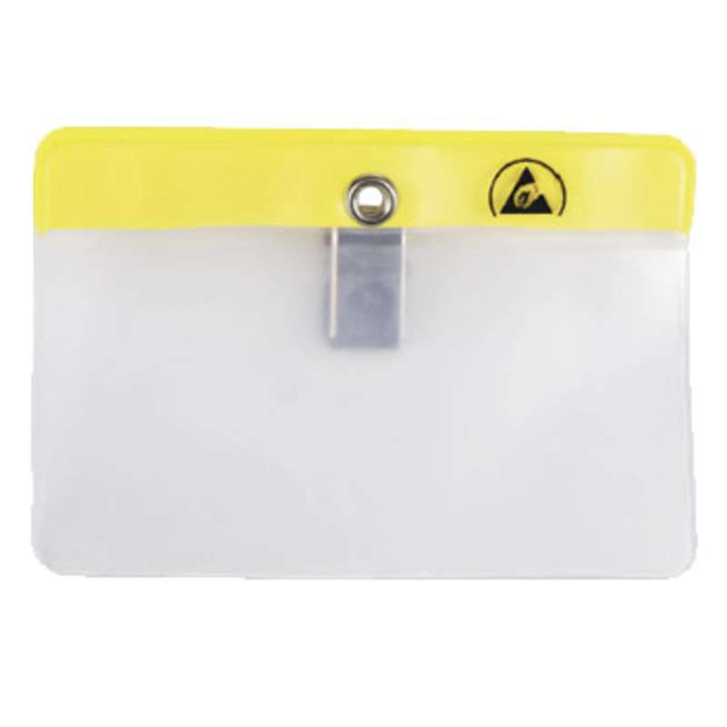 """ESD-Safe Horizontal Clip-On Badge Holder Clear, 4-1/4 x 2-15/16"""", 2mil"""