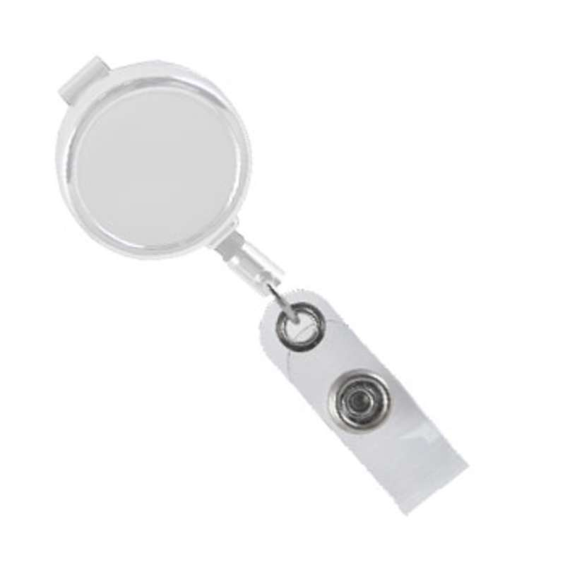 Premium Spring Loaded White Badge Reel with Swivel Clip, 3'
