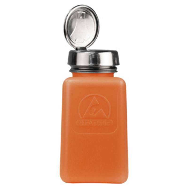 ESD-Safe Orange durAstatic™ Solvent Dispenser Bottle with One-Touch Pump Top, 6 oz