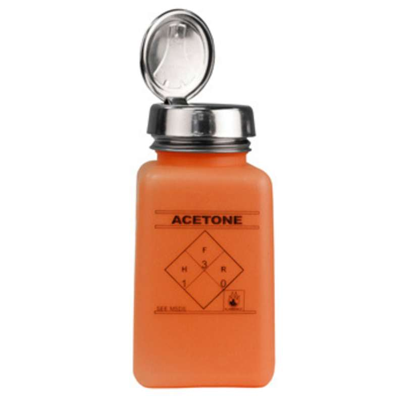 ESD-Safe Orange durAstatic™ Solvent Dispenser Bottle with One-Touch Pump Top and Acetone Markings, 6 oz