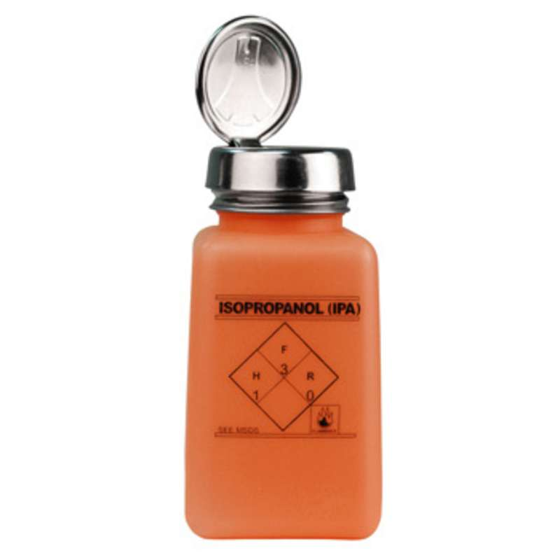 ESD-Safe Orange durAstatic™ Solvent Dispenser Bottle with One-Touch Pump Top and IPA Markings, 6 oz