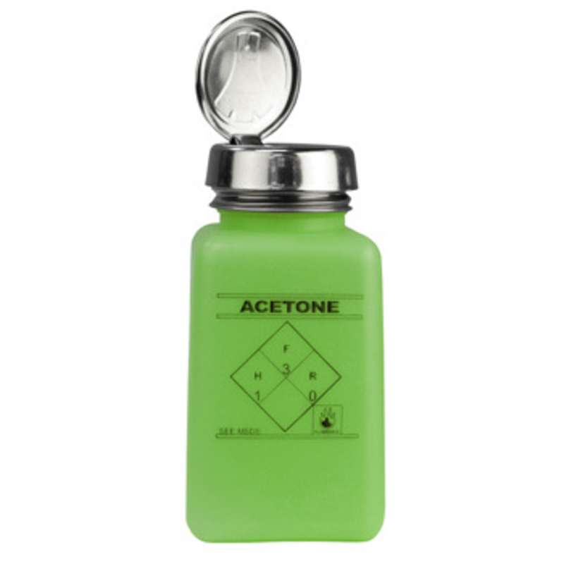 ESD-Safe Green durAstatic™ Acetone Solvent Dispenser Bottle with One-Touch Pump Top, 6 oz