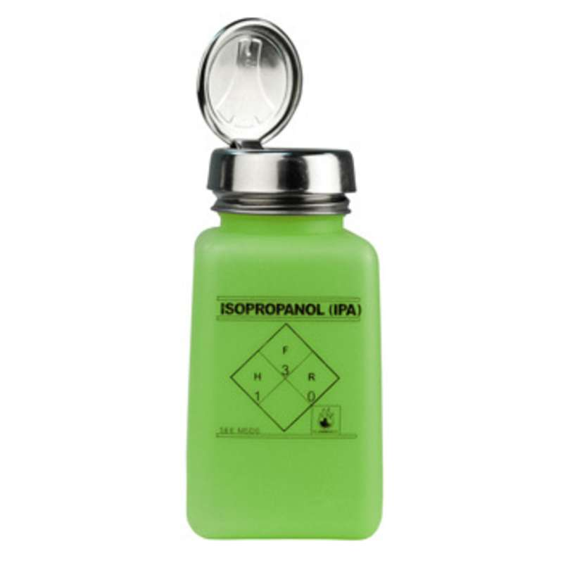 ESD-Safe Green durAstatic™ Solvent Dispenser Bottle with One-Touch Pump Top and IPA Markings, 6 oz