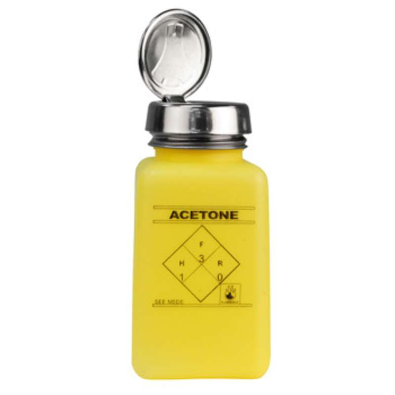 ESD-Safe Yellow durAstatic™ Solvent Dispenser Bottle with One-Touch Pump Top and Acetone Markings, 6 oz