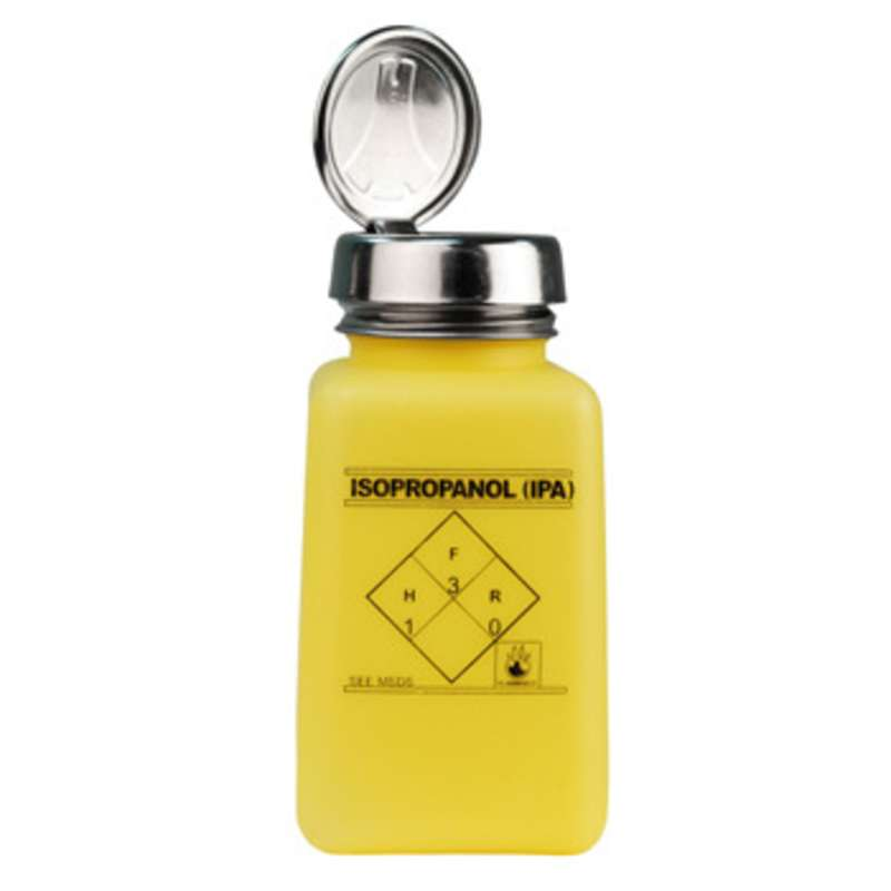 ESD-Safe Yellow durAstatic™ Solvent Dispenser Bottle with One-Touch Pump Top and IPA Markings, 6 oz