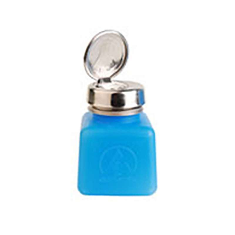 ESD-Safe Blue durAstatic™ Solvent Dispenser Bottle with One-Touch Pump Top, 4 oz
